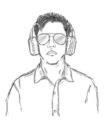 Vector Illustration of a Man with wireless headphones and sunglasses