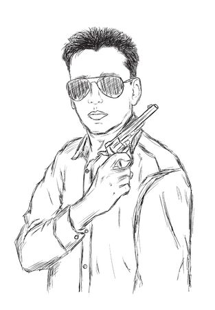 Criminal Mafia or Gangster with gun and sunglasses - Vector Illustration Illustration