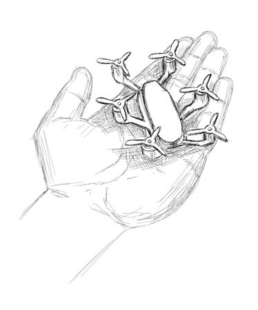 Small Drone in a hand - Sketch Vector Illustration Illustration