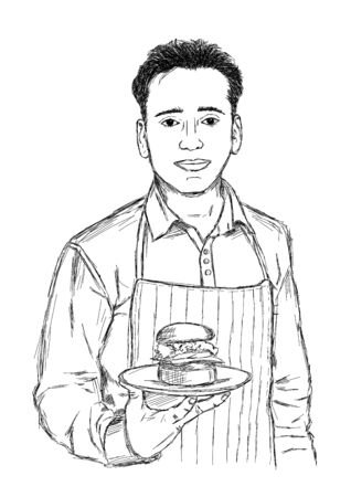 Male Chef with a Burger in Hand - Vector Sketch