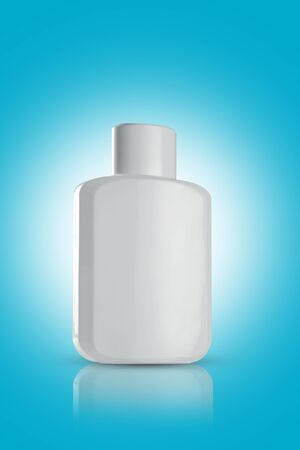 Blank White Perfume Bottle for Mockups on blue background