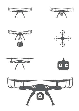 Drone Icons showing Flying, Camera, Delivery and Remote - Vector Illustrations
