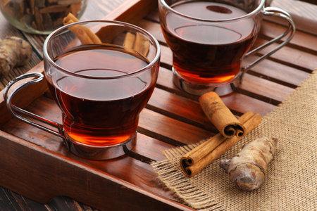 Healthy Green Tea with Ingredients - Cinnamon and Turmeric