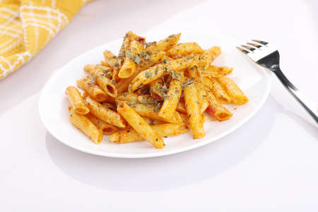 Food - Delicious Penne Pasta Plate with a Fork on White Background