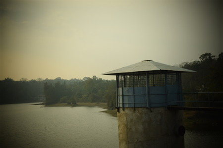 A structure at the edge of Chiklihole dam in Coorg, Karnataka, India