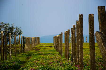 Photograph of fences of concrete bars on a plateau situated in India Reklamní fotografie