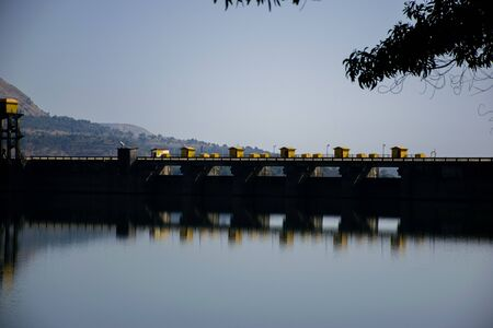 Photograph of the wall of a dam which is situated in Pune, Maharashtra, India