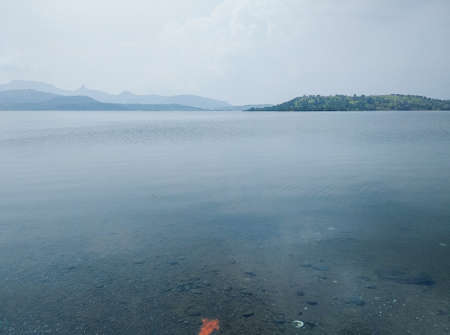 Panoramic view of beautiful Bhandardara dam situated in Bhandardara village of rural Maharashtra, India