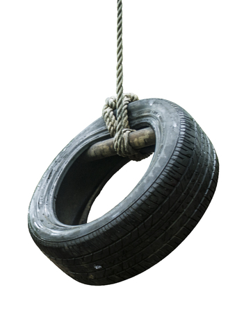 tire cover: Tire swing on the rope isolated on white background