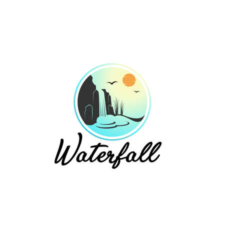 the waterfall logo design tamplate Illustration
