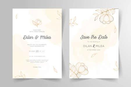 Set of cards with line art floral decoration Ilustração Vetorial