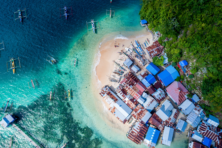 Aerial View of White Sandy Beach Fishing Village, Jayapura Papua Indonesia, Asia