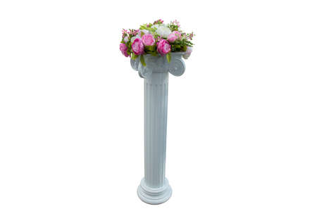 refinement: Column with flower marble vase isolated