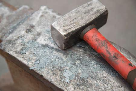 medieval blacksmith: hammer and anvil used by a blacksmith