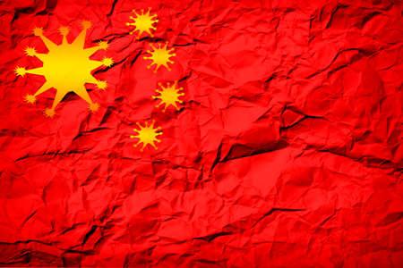 china flag instead of virus bacteria stars