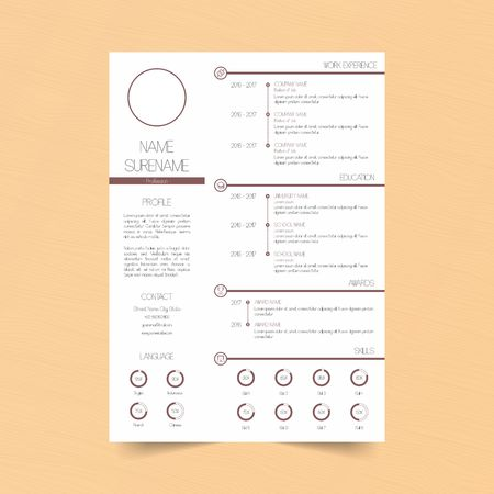 Red Line Curriculum Vitae Template  vector illustration Vectores