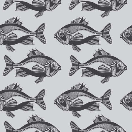 Vector monochrome seamless pattern with hand-drawn ocean fishes