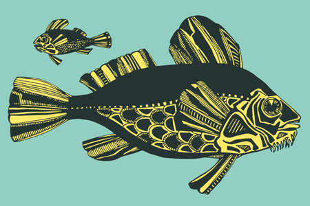 Vector illustration with hand-drawn graphic fishes, ocean, river,