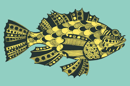 living organism: Vector illustration with hand-drawn graphic fishes, ocean, river,