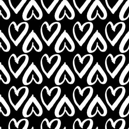 naive: Vector hand-painted seamless pattern with ink hearts. Abstract background. Doodles.