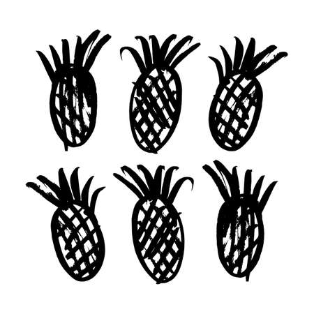 ananas: Vector hand-painted ink illustration with brush strokes. Abstract background. Ananas. Illustration