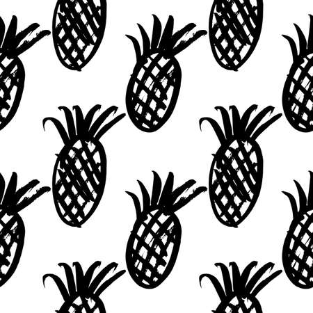 ananas: Vector hand-painted seamless pattern with ink brush strokes. Abstract background. Ananas.