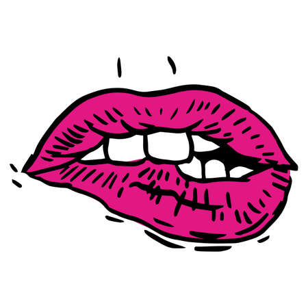 icon series: Vector hand-painted sketch, fashion illustration with ink hand drawn woman s lips