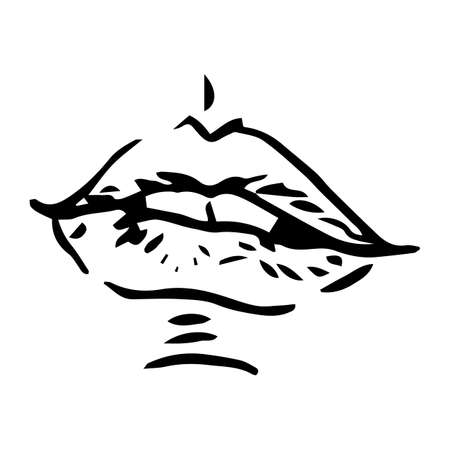 sensual: Vector hand-painted sketch, fashion illustration with ink hand drawn woman s lips