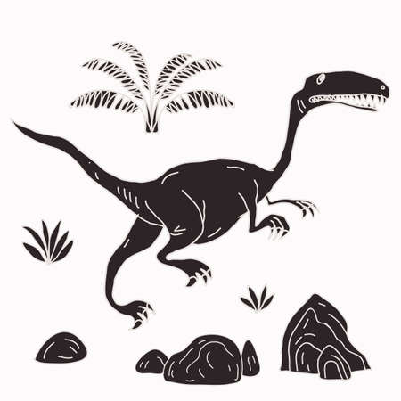 Vector hand-drawn illustration with  cute cartoon doodle dinosaur. Jurassic Park. Illustration