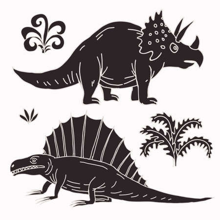 jurassic: Vector hand-drawn illustration with  cute cartoon doodle dinosaur. Jurassic Park. Illustration