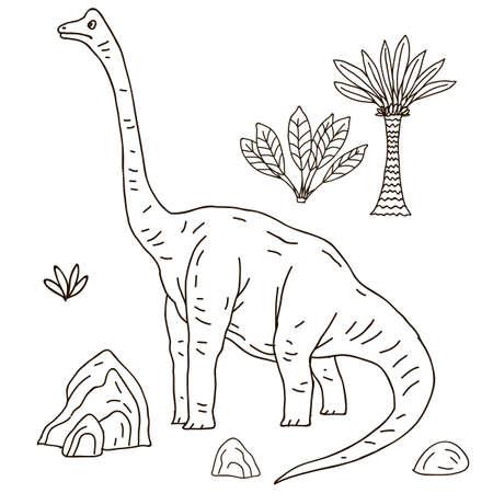 droll: Vector hand-drawn illustration with  cute cartoon doodle dinosaur. Jurassic Park. Illustration