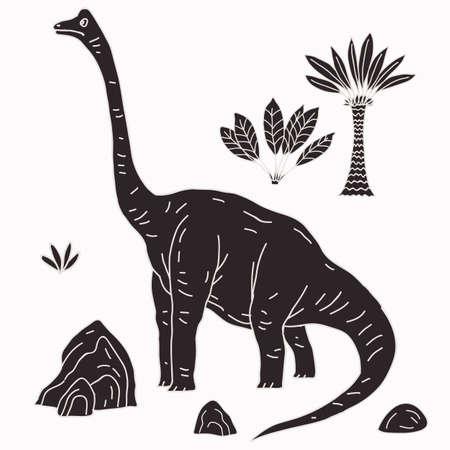 Vector hand-drawn illustration with cute cartoon doodle dinosaur. Jurassic Park.