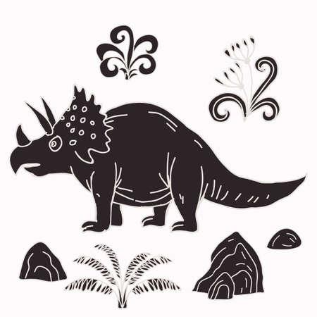 Vector hand-drawn illustration with  cute cartoon doodle dinosaur. Jurassic Park. Illustration