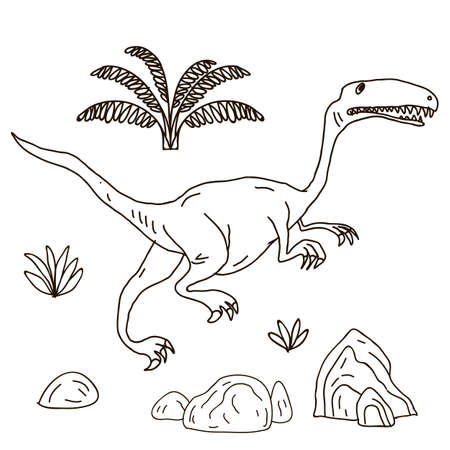pterodactyl: Vector hand-drawn illustration with  cute cartoon doodle dinosaur. Jurassic Park. Illustration