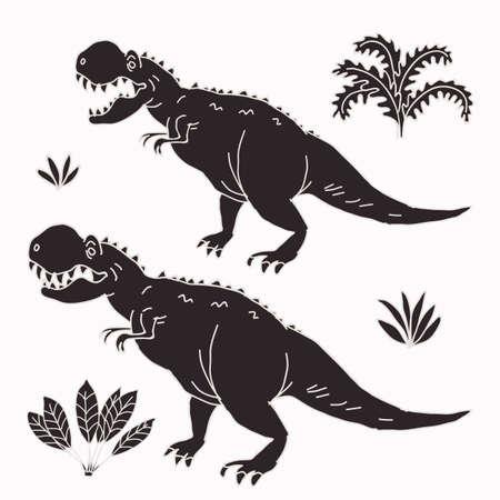 Vector hand-drawn illustration with  cute cartoon doodle dinosaur. Jurassic Park. Stock Photo