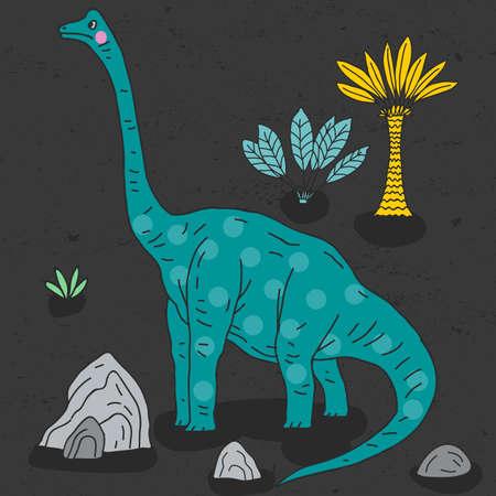 Vector hand-drawn illustration with  cute cartoon doodle dinosaur. Illustration