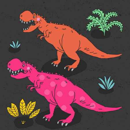Vector hand-drawn illustration with  cute cartoon doodle dinosaur. Illustration