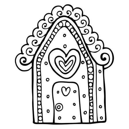 gingerbread house: Vector hand-drawn illustration with  cute gingerbread house