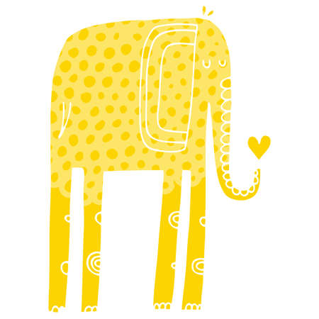 Vector hand-drawn illustration with cote colorfull elephants Illustration