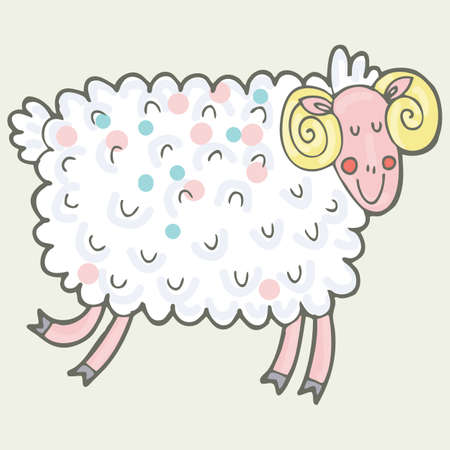 Vector hand-drawn illustration with sheep in a village. Farm animal. Illustration