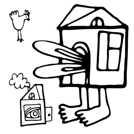 lewis: Vector illustration with big Alice in small house