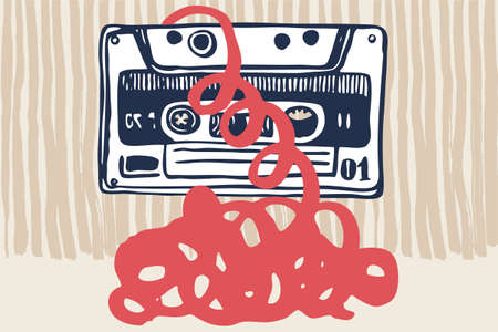Vector illustration with vintage cassettes, tapes,  old music.