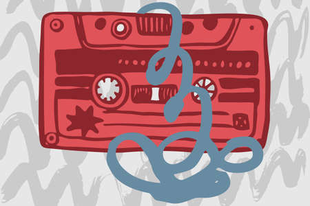 cassettes: Vector illustration with vintage cassettes, tapes,  old music.