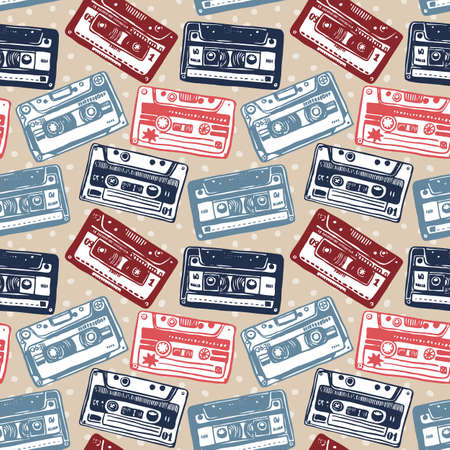 remix: Vector seamless pattern with vintage cassettes, tapes,  old music.