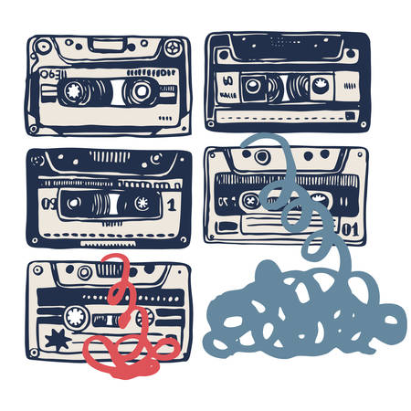 remix: Vector illustration with vintage cassettes, tapes,  old music.