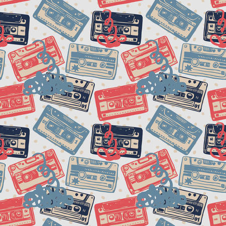cassettes: Vector seamless pattern with vintage cassettes, tapes,  old music.
