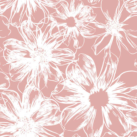 Vector hand-drawn seamless pattern with flowers Illustration