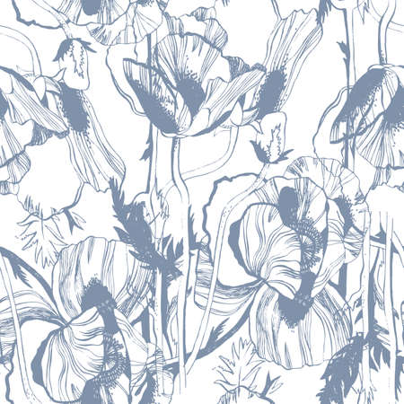 Vector seamless pattern with hand-drawn ink Poppy flowers Illustration