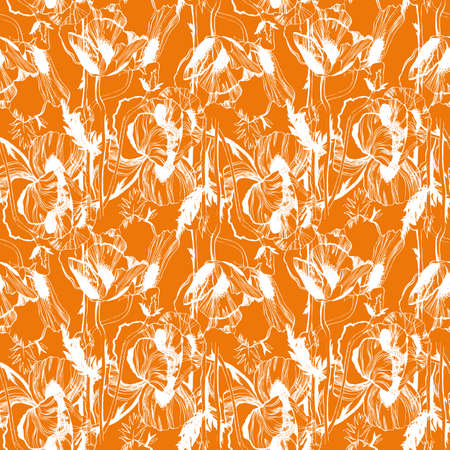 oldened: Vector seamless pattern with hand-drawn ink Poppy flowers Illustration