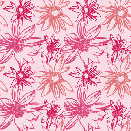 wrappers: Vector hand-drawn seamless pattern with flowers Illustration